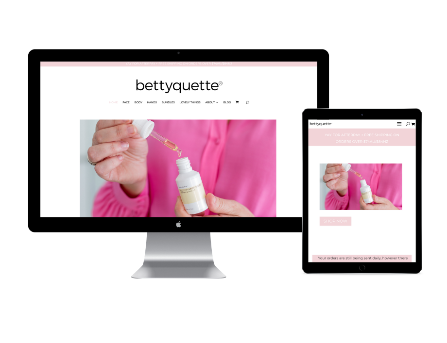 Bettyquette website design