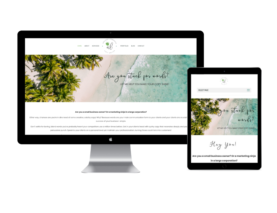 Ashleigh Lieberman copywriting website design