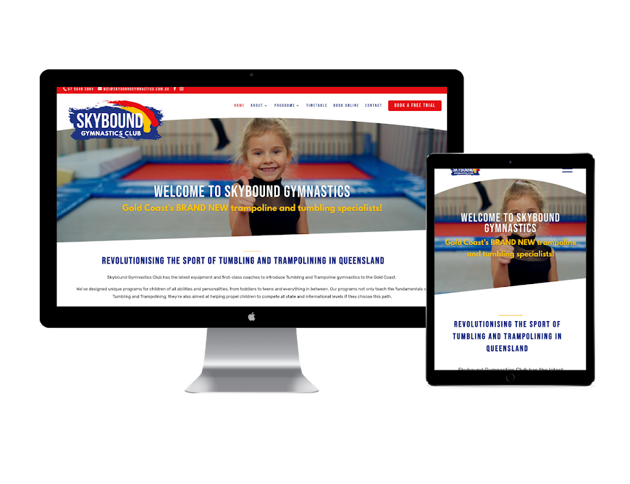 Skybound Gymnastics website design