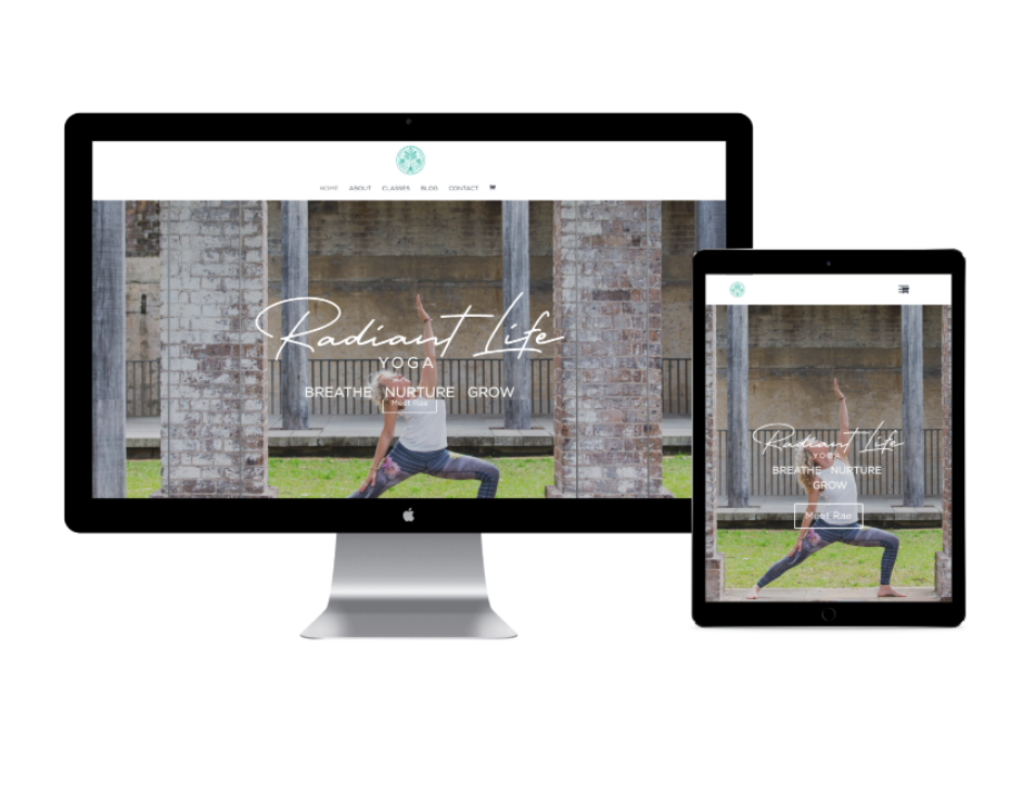 radiant life yoga website design