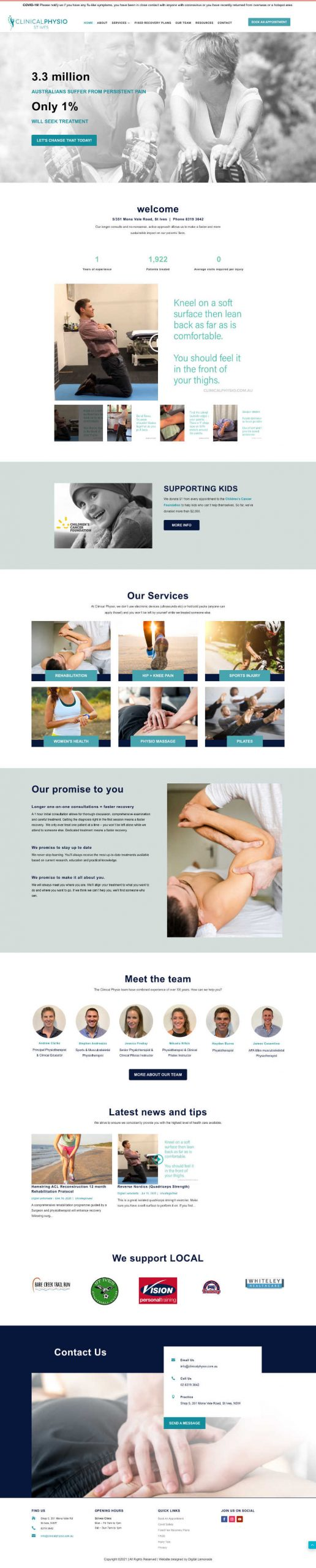 Clinical Physio St Ives website